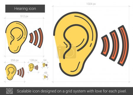 Illustration for Hearing vector line icon isolated on white background. Hearing line icon for infographic, website or app. Scalable icon designed on a grid system. - Royalty Free Image