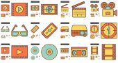 Cinema vector line icon set isolated on white background Cinema line icon set for infographic website or app Scalable icon designed on a grid system