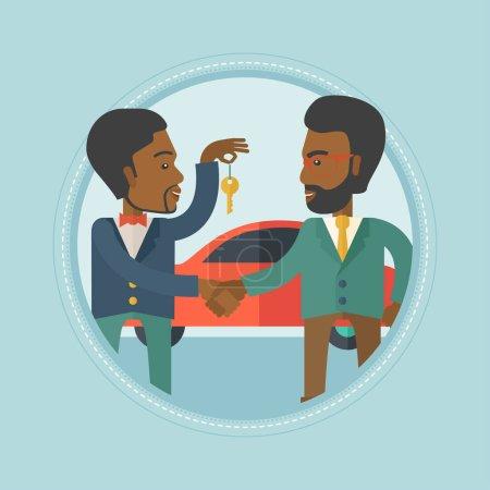 Illustration pour Un vendeur de voiture africaine donnant clé de voiture à un nouveau propriétaire sur le fond de magasin de voiture. Homme achetant une voiture et serrant la main à un vendeur. Illustration vectorielle du dessin plat dans le cercle isolé sur fond - image libre de droit