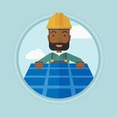Constructor installing solar panel