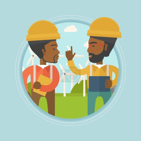 Workers of wind farm talking vector illustration.