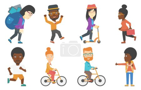 Set of tourists business and sport characters.