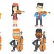 Постер, плакат: Vector set of musicians characters