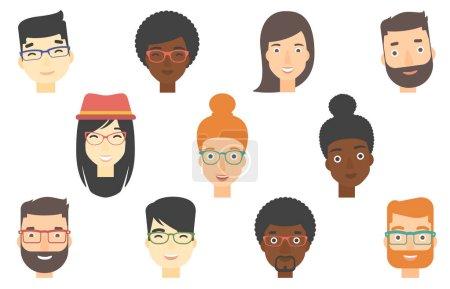 Illustration pour Ensemble de visages humains exprimant des émotions positives. Visages humains avec des sourires larges. Ensemble de personnes gaies avec des expressions faciales heureuses. Illustrations vectorielles plates isolées sur fond blanc. - image libre de droit