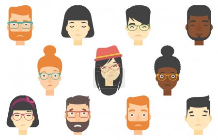 Illustration for Set of people expressing facial emotions. Human faces with sad facial expressions. Human faces showing sad emotion. People with sad faces. Vector flat design illustrations isolated on white background - Royalty Free Image