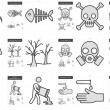 Постер, плакат: Ecology biohazard line icon set