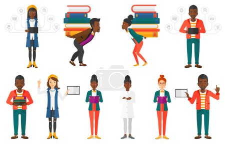 Illustration for Tired student carrying a heavy pile of books on his back. Sad student with pile of books. Student holding many books on his back. Set of vector flat design illustrations isolated on white background. - Royalty Free Image
