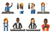 Vector set of musicians people characters