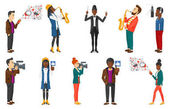 Vector set of media people and musicians