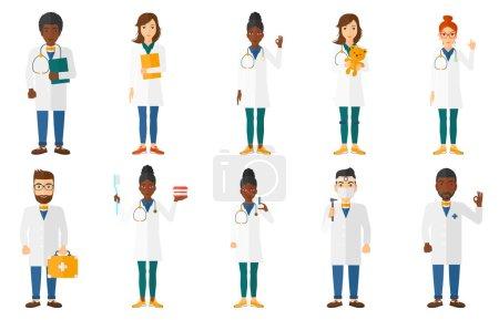 Illustration pour Docteur en blouse médicale montrant un signe correct. Joyeux geste du docteur signe ok. Docteur avec le geste du signe ok. Docteur tenant une trousse de premiers soins. Ensemble d'illustrations vectorielles plates isolées sur fond blanc . - image libre de droit