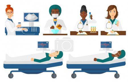 Illustration for Pharmacist using mortar and pestle for preparing medicine. Pharmacist mixing medicine in mortar. Pharmacist preparing medicine. Set of vector flat design illustrations isolated on white background. - Royalty Free Image