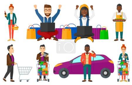 Illustration pour Homme comptant sur une calculatrice près d'un chariot de supermarché. Homme vérifiant les prix sur une calculatrice. Un homme utilisant une calculatrice à l'épicerie. Ensemble d'illustrations vectorielles plates isolées sur fond blanc . - image libre de droit