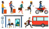 Transportation vector set with people traveling