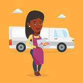 Baker delivering cakes vector illustration
