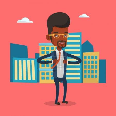 Illustration pour Homme d'affaires ouvrant sa veste comme un super-héros. Un super-héros d'affaires africain. Homme d'affaires enlevant sa veste comme un super-héros sur fond de ville. Illustration vectorielle de design plat. Aménagement carré . - image libre de droit