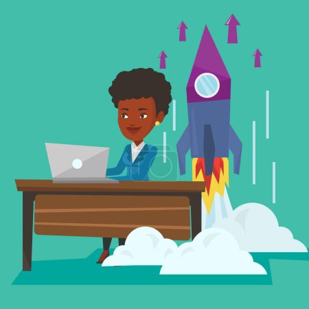 Illustration pour Une jeune femme d'affaires afro-américaine qui travaille sur le démarrage d'une entreprise et le lancement d'une fusée derrière elle. Concept de création d'entreprise. Illustration vectorielle de design plat. Aménagement carré . - image libre de droit