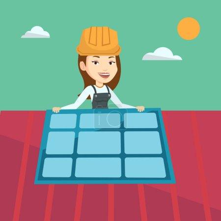 Constructor installing solar panel.