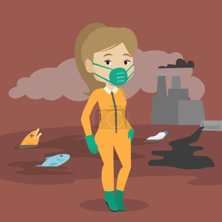 Illustration for Caucasian woman in gas mask and radiation protective suit standing on the background of nuclear power plant. Scientist wearing radiation protection suit. Vector flat design illustration. Square layout - Royalty Free Image