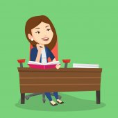 Student writing at the desk vector illustration