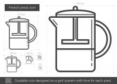French press vector line icon isolated on white background French press line icon for infographic website or app Scalable icon designed on a grid system