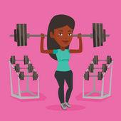 Woman lifting barbell vector illustration