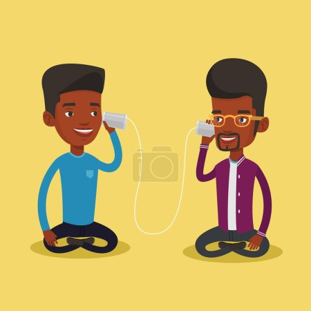 Illustration for An african men discussing something using tin can telephone. Guy getting good message from friend on tin can phone. Friends talking through a tin phone. Vector flat design illustration. Square layout - Royalty Free Image