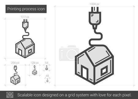 Printing process line icon.