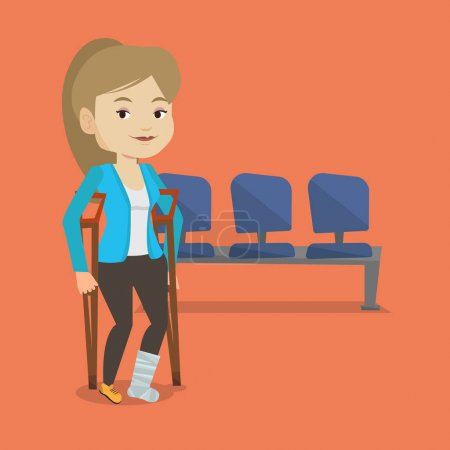 Illustration for An injured caucasian woman with leg in plaster. Young woman with broken leg using crutches. Smiling woman with fractured leg. Vector flat design illustration. Square layout. - Royalty Free Image