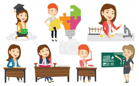 Illustration for Student carrying out laboratory experiment. Student working with microscope at laboratory class. Girl experimenting in laboratory. Set of vector flat design illustrations isolated on white background. - Royalty Free Image