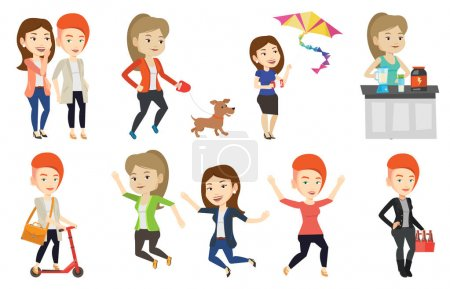 Vector set of people during leisure activity.