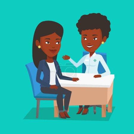 Illustration pour Médecin afro-américain consultant patient au bureau. Le docteur parle à un patient souriant. Docteur communiquant avec la patiente au sujet de son état de santé. Illustration vectorielle de design plat. Aménagement carré . - image libre de droit