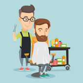 Barber making haircut to young man