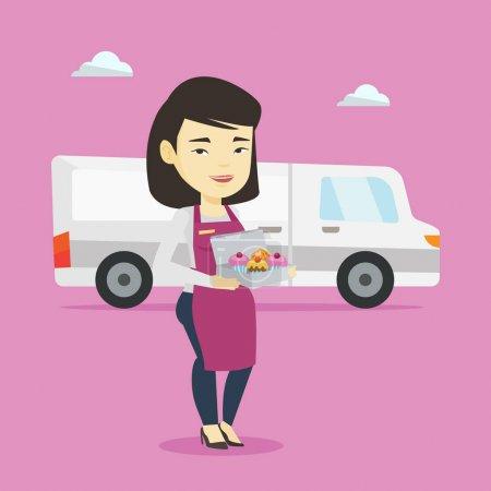 Illustration pour Courrier de livraison amical tenant une boîte de gâteaux. Boulanger asiatique livrant des gâteaux. Jeune femme avec des cupcakes debout sur le fond du camion de livraison. Illustration vectorielle de design plat. Aménagement carré . - image libre de droit