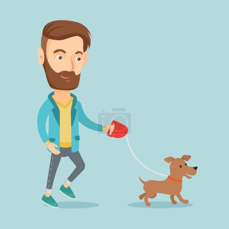 Young man walking with his dog.