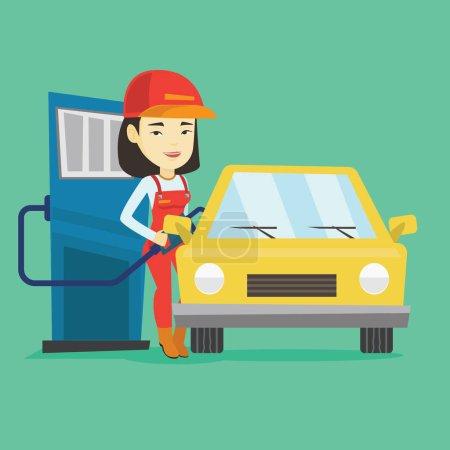 Illustration pour Un employé d'une station-service asiatique remplit le carburant dans la voiture. Travailleur souriant en tenue de travail à la station-service. Jeune employé d'une station-service ravitaillant une voiture. Illustration vectorielle de design plat. Aménagement carré . - image libre de droit