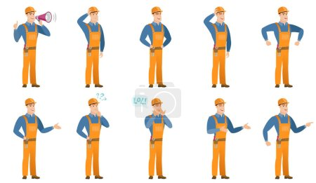 Illustration for African builder with arm out in a welcoming gesture. Full length of welcoming young builder. Builder doing a welcome gesture. Set of vector flat design illustrations isolated on white background. - Royalty Free Image