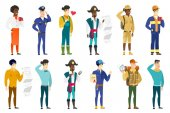 Caucasian confident police officer saluting Happy police officer in uniform with gun holster standing at attention and saluting Set of vector flat design illustrations isolated on white background
