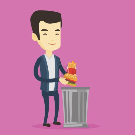 Illustration for Asian man putting junk food into a trash bin. Adult man refusing to eat junk food. Man rejecting junk food. Man throwing junk food. Diet concept. Vector flat design illustration. Square layout. - Royalty Free Image