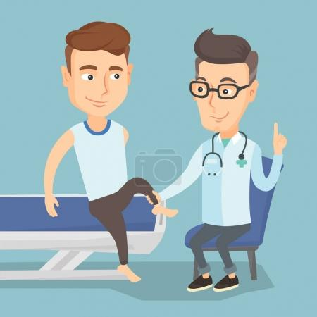 Gym doctor checking ankle of a patient.
