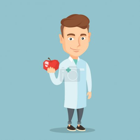Nutritionist offering fresh red apple.