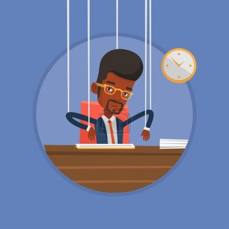 Businessman marionette on ropes working.