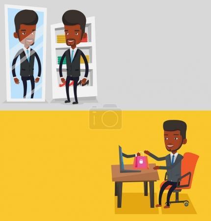 Illustration pour Deux bannières avec espace pour le texte. Design plat vectoriel. Disposition horizontale. Heureux homme afro-américain se regardant dans un miroir dans le vestiaire. Jeune homme essayant costume dans le vestiaire . - image libre de droit