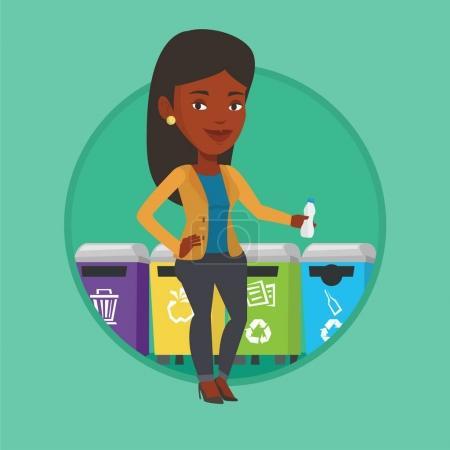 Illustration pour Une femme jetant des ordures. Femme debout près de quatre poubelles et jetant les ordures dans une poubelle appropriée. Concept de séparation des ordures. Illustration vectorielle de dessin plat en cercle isolé sur fond - image libre de droit