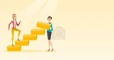 Illustration for Businesswoman runs up the career ladder while another woman builds this ladder. Business woman climbing the career ladder. Business career concept. Vector flat design illustration. Horizontal layout. - Royalty Free Image