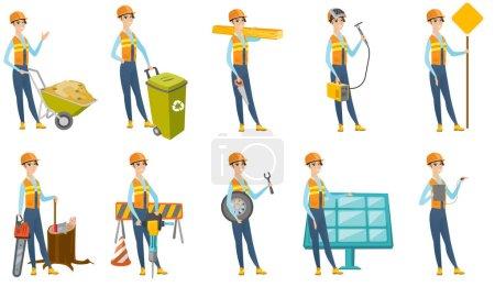 Vector set of builder characters.