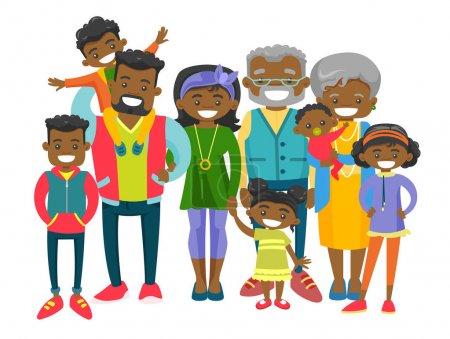 Illustration pour Heureuse famille africaine souriante élargie avec de vieux grands-parents, de jeunes parents et de nombreux enfants. Portrait de grande famille avec sourire joyeux. Illustration vectorielle isolée sur fond blanc . - image libre de droit