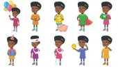 Little african girl vector illustrations set