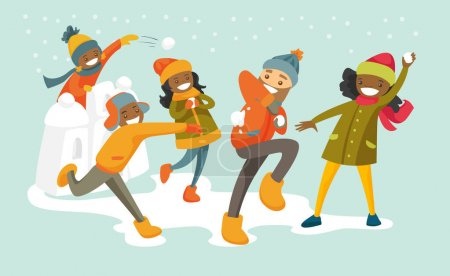 Stock Photo|Multicultural family playing snowball fight.