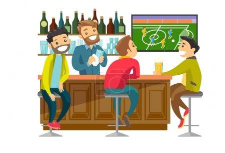 Illustration pour Jeunes blancs caucasiens joyeux buvant de la bière et regardant le match de football dans le bar. Heureux amis avec de la bière dans le bar sportif. Illustration vectorielle de dessin animé isolée sur fond blanc. Aménagement carré . - image libre de droit