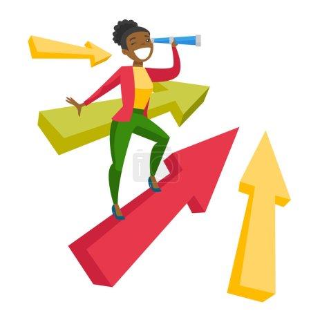 Illustration pour Jeune femme d'affaires africaine debout sur la flèche et utilisant un télescope pour la recherche d'opportunités d'affaires. Concept d'opportunités d'affaires. Illustration vectorielle de dessin animé isolé sur fond blanc . - image libre de droit